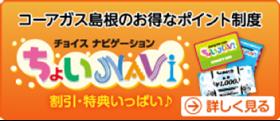 コーアガス島根のお得なポイント制度「ちょいNAVi」→詳しく見る